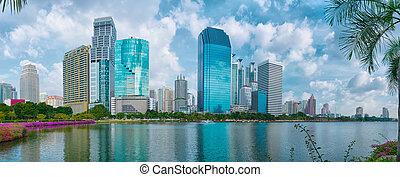 Skyscrapers in Bangkok. View from Lumpini park - Skyscrapers...