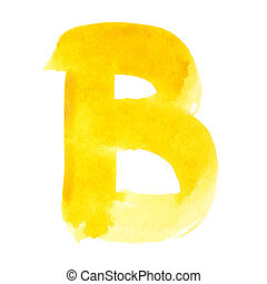 Watercolor letters - B - Watercolor letters over white...