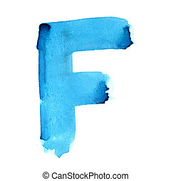 Watercolor letters - F - Watercolor letters over white...