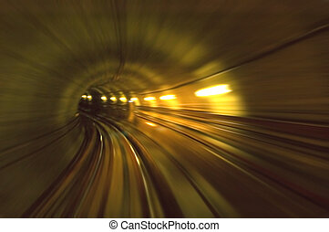 Tunnel - Abstract View - Train moving in Tunnel