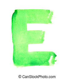 Watercolor letters - E - Watercolor letters over white...
