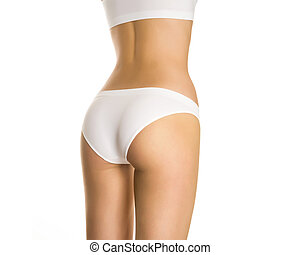 Beautiful female buttocks in panties on a white background...
