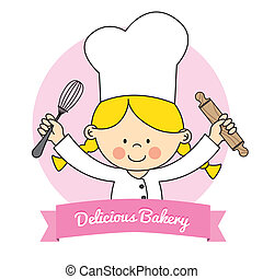 Little Chef girl - Illustration of Little Chef girl