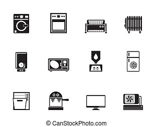 Home electronics and equipment icon - Silhouette Home...