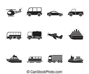 Travel and transportation icons - Silhouette Travel and...
