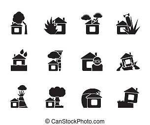 home and house insurance icons - Silhouette home and house...
