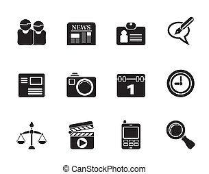 computer and business icons - Silhouette web site, computer...