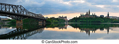 Ottawa morning - Ottawa city skyline panorama at sunrise in...