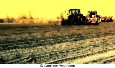 tractor sowing soya ,soya beam field