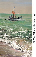 Boat - Alone boat in a wavy ocean. Picture created with...