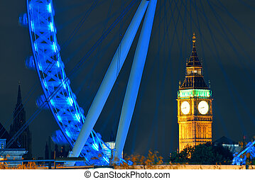 London Eye - LONDON, UK - SEP 26: London Eye and Big Ben on...