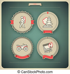 Outdoor activity - 4 vector icons related to ships, boats...