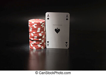 Casino chips and card