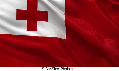 Flag of Tonga - seamless loop - Flag of Tonga gently waving...