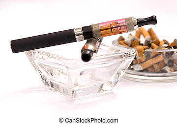 Empty ashtray with e-cigarette - E-cigarette cleaner than...