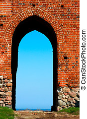 Medieval blue gate - Medieval brick gate to external world