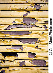Paint damaged in fire - Picture of a wall of a buildning...
