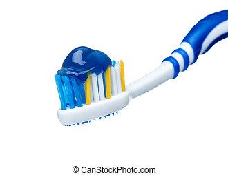 dentifrice, bleu, brosse dents