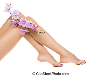 Healthy female Legs. Spa Long woman