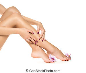 Healthy female Legs Spa Long woman legs and orchids isolated...