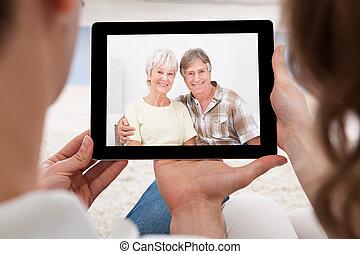 conferencia, pareja,  vídeo, teniendo