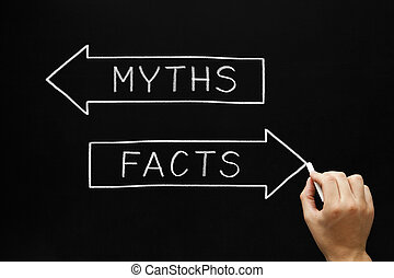 Myths or Facts Concept - Hand sketching Myths or Facts...