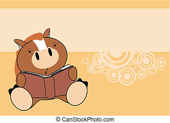 horse baby reading cartoon wallpaper in vector format