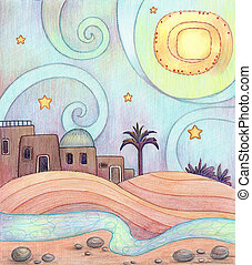Desert Night - An illustration of an old city in the desert,...