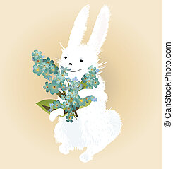 Easter bunny - Bunny with forget-me-not flowers bouquet in...