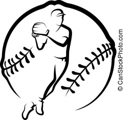 Baseball Throw In Stylized Ball - Black and white vector...
