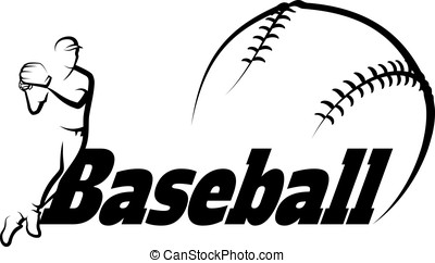 Baseball Throw with Stylized Ball - Black and white vector...