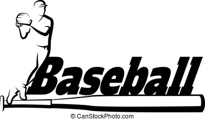 Baseball Throw with Bat - Black and white vector...