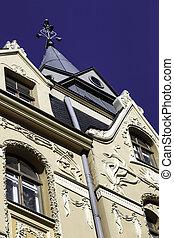 Art Nouveau jugendstil building, Riga Latvia Forty per cent...