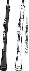 Oboe On White Background - Hand drawn oboe cartoon on...