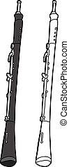 Oboe On White Background - Hand drawn oboe cartoon on...