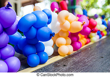 Balloon animal. - Balloon animal many stand in a line on the...