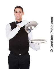 Waiter Holding Lid Cover Over Empty Tray