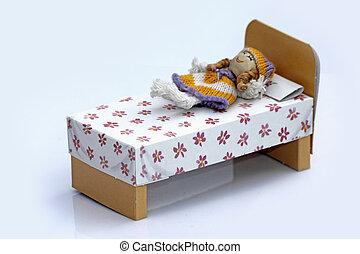 muñeca, acostado, Cama