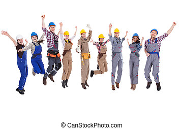 Large diverse group of workmen and women leaping in the air...