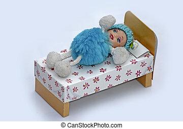 muñeca, acostado, en, Cama,