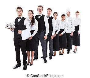 posición, grupo, camareras, grande, Camareros, fila