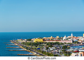 Historic Cartagena and Sea - Historic center of Cartagena,...