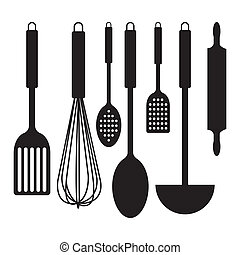 Kitchen tools - abstract kitchen tools silhouettes on a...