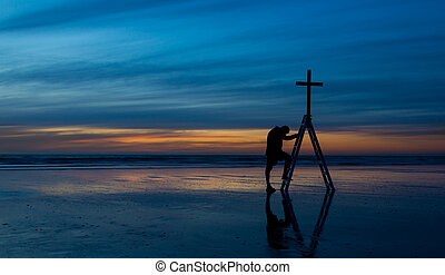 Salvation Steps - Man making a step of faith to the cross of...