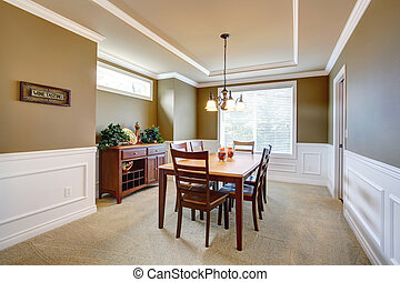 Dining room with white wall trim - Elegant dining room with...