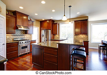 Modern kitchen room with oak cabinets - Beautiful kitchen...