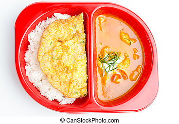 Red curry rice and fried egg