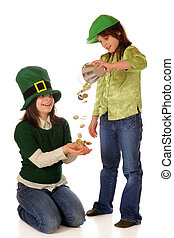 Luck of the Irish - Two happy girls dressed for St Pattricks...
