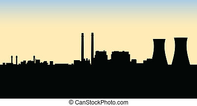 Nuclear Power Station - A silhouette of a nuclear power...