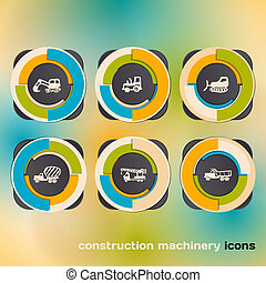 Icon set with construction machinery
